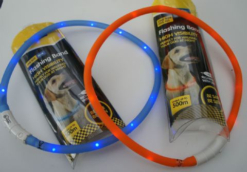 DOG FLASHING LIGHT COLLAR HIGH VISIBILITY HI VIZ DOG FLASHING BAND LIGHT HALO
